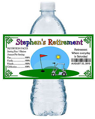 20 RETIREMENT PARTY WATER BOTTLE LABELS GOLF THEME (Golf Themed Party Supplies)