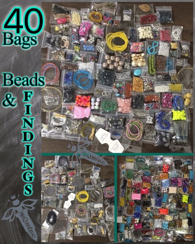 FINDINGS & BEADS 40 Bags Jewelry Making Lot Supplies Pendants Wire Closures👑🐝