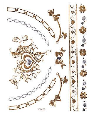 GOLD Tattoo Flash Tattoos TRIBALS Herz Kette Armband Silber Einmaltattoos YS-28