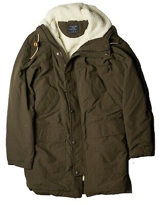 NWT Abercrombie & Fitch By Hollister Mens Sherpa Parka Jacket Color Green S M