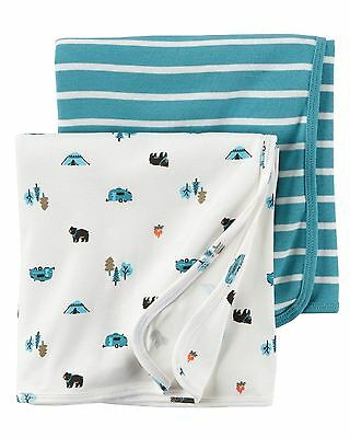 Carter's 2-Pack Baby Soft Wrap Swaddle Blankets Newborn Infant Cotton NEW $24