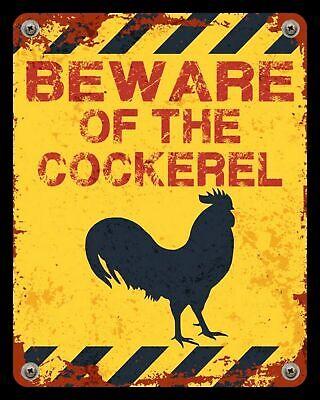 Funny Metal Tin Signs Kitchen Beware of Cockerel Rusty Club Bar Vintage Poster