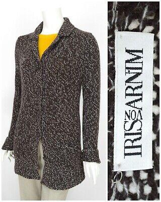 Womens Iris Von Arnim 100% Cashmere Cardigan Knit Jumper Brown Button Size L