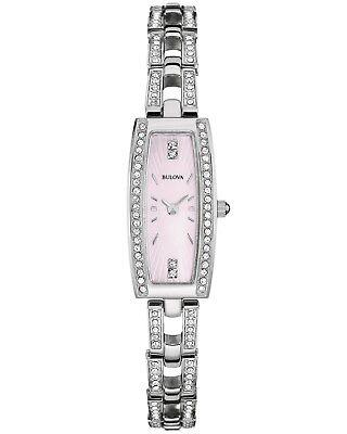 Bulova Women's 96L208 Crystal Quartz Pink Dial Stainless Steel Bracelet Watch