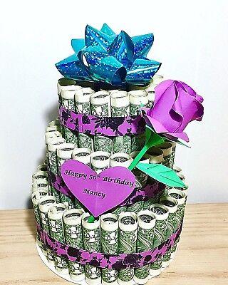 Dollar Bill Cake (Money cake US dollar bill Origami Cash art personalized gift birthday)