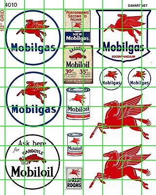 4010 HO 1:87 DAVE'S DECALS VINTAGE MOBIL GAS/OIL SIGNS ADVERTISING