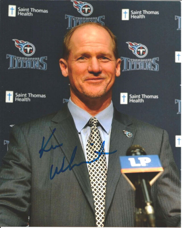 TENNESSEE TITANS KEN WHISENHUNT SIGNED HEAD COACH 8X10 PHOTO W/COA A