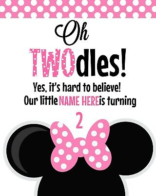Oh Twodles Birthday (Disney Minnie Mouse NAME NEEDED STAND UP Oh TWOdles Cardstock 8.5x11 Sign)