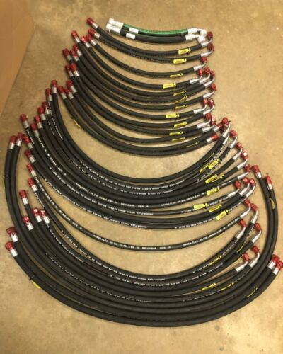 Lot of 34 Industrial Hydraulic Hoses Various Lengths / Ends - Eaton Hansa-Flex