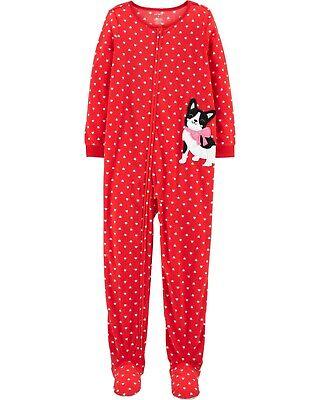 NEW CARTER'S FOOTED Fleece Pajama valentine heart puppy Blanket Sleeper pj red 6 Heart Blanket Sleeper