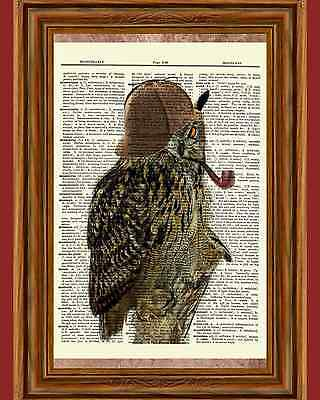 Steampunk Sherlock Owl Pipe Dictionary Curious Art Print Poster Picture OOAK - Owl Photo