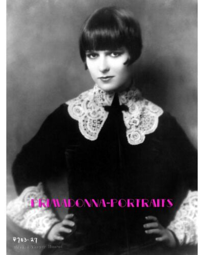 LOUISE BROOKS 8x10 Lab Photo Elegant 1920s Velvet and Lace Beauty Classic Hair