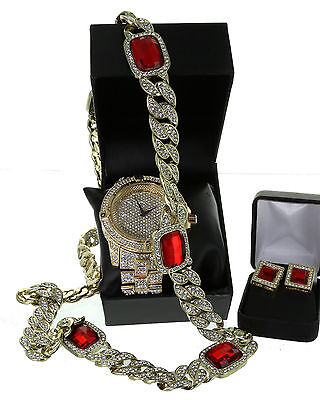Iced Out Gp Rapper S Lab Diamond Watch 32  Cuban Ruby Stone Chain   Earring Set