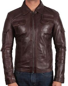 Men's Leather Biker Jacket Vintage Motor Biker Jacket Slim Fit Coat Outwear