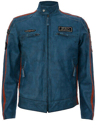 Mens Blue Leather Jacket Badged Cafe Racer Retro Biker