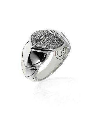John Hardy Legends Naga Sterling Silver Diamond Ring Sz 7 RBP66472DIX7