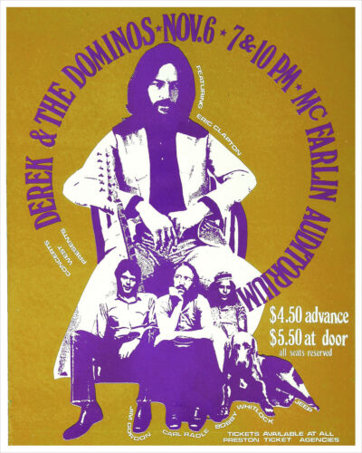 Derek and the Dominos 1970 concert poster print