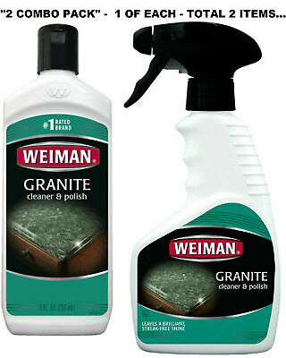 Weiman Granite Marble Stone CLEANER & POLISH cream  and Spray Combo pack