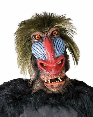 Baboon Mask Latex Facial Piece With Hair Back Comfortable To Wear](Easy Halloween Mask)