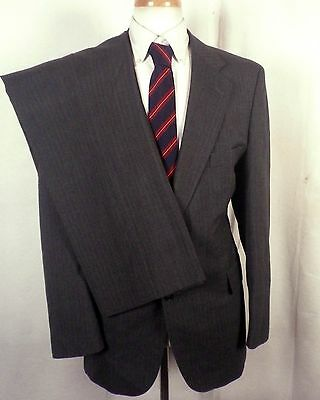 euc English Manor gray Pinstriped 100% Wool Men's 2 Pc Business Suit sz 40 R