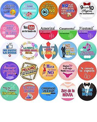 50x Pack BODA REGALO EVENTO LOTE FIESTA chapa boton Badge pin imperdible...