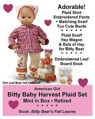 American Girl_Bitty Baby_HARVEST PLAID SET_Outfit, Toy, Book_Retired Set_NEW_MIB