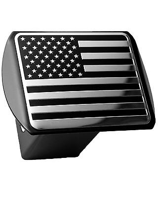 Flag Chrome Hitch Covers (USA US American Flag 3d Chrome Emblem on Black Trailer Metal Hitch Cover)