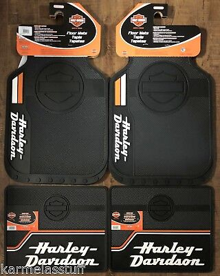Harley Davidson Truck Floor Mats - Harley-Davidson Bar & Shield Stacked Front and Rear Car Truck Rubber Floor Mats