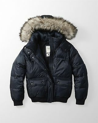 NEW Abercrombie & Fitch Hooded Puffer Coat Jacket L Large Navy Women's $180
