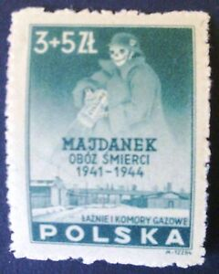 POLAND STAMPS MNH 4Fi403 ScB45 Mi436 -Concetration camp Maydanek,1946, clean - Reda, Polska - POLAND STAMPS MNH 4Fi403 ScB45 Mi436 -Concetration camp Maydanek,1946, clean - Reda, Polska