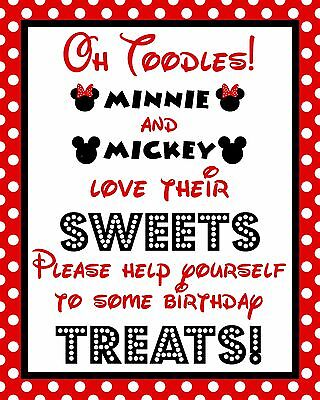 Disney Mickey & Minnie Mouse 8.5x11 in. Oh Toodles Treat Cardstock Sign/Red - Red Minnie Mouse Decorations