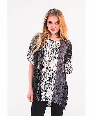 Multi-stripe Mesh (Lady multi black blue white stripe print mesh design short sleeves top )