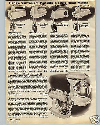 1960 PAPER AD Kitchen Aid Food Mixer Model 3C K5-A Professional
