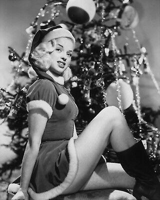 WW2 WWII Photo Girl with Christmas Tree  World War Two / 8089