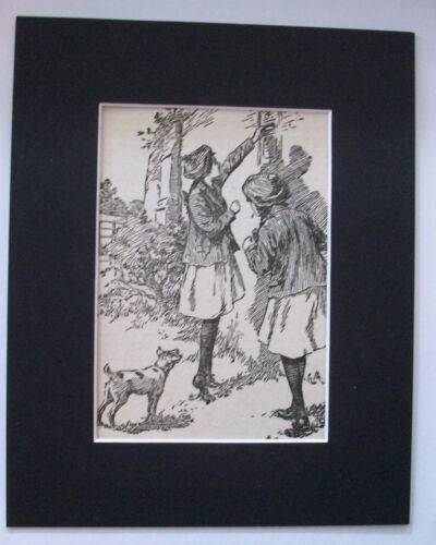 Print School Girls Dog Mail Letter 1930s Bookplate 8x10 Matted Adorable