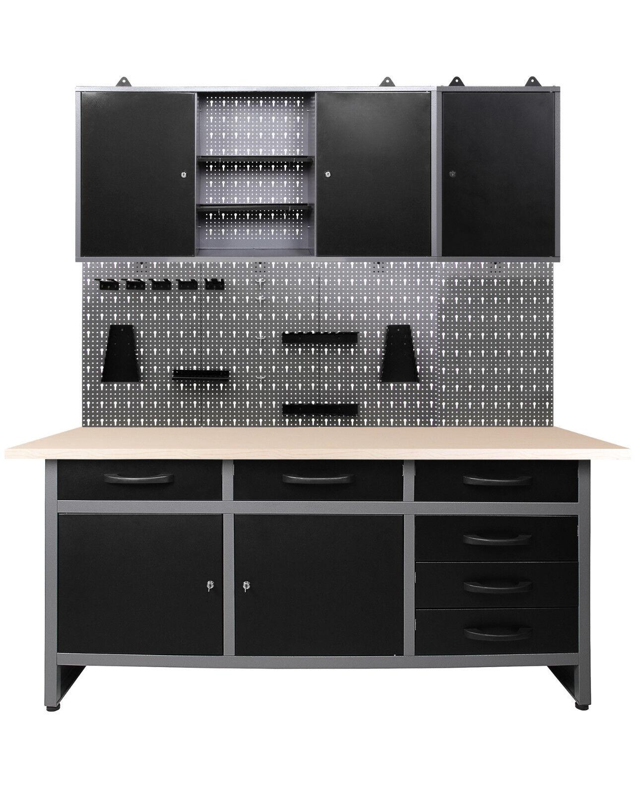 Ondis24 Werkbank 170 cm Werktisch Montagewerkbank Werkstatt Metall+Sistemo 2 Set