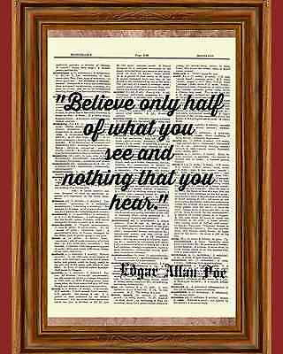 Edgar Allan Poe Dictionary Art Print Book Page Quote Eerie Picture Wall Poster