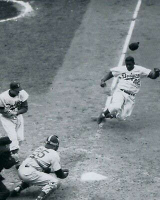 Brooklyn Dodgers Photo - JACKIE ROBINSON 8X10 PHOTO BROOKLYN DODGERS BASEBALL PICTURE STEALING HOME MLB