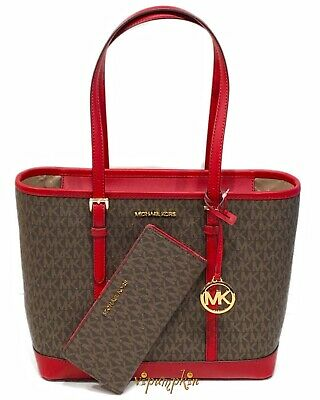 Michael Kors Jet Set Travel Small Top Zip Shoulder Tote + Wallet Brown Scarlet