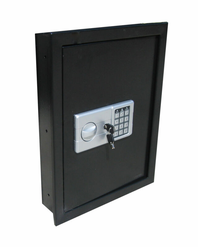 DIGITAL ELECTRONIC FLAT RECESSED WALL HIDDEN SAFE SECURITY BOX JEWELRY GUN BLACK