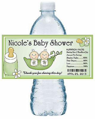 20 TWO PEAS IN A POD TWINS BABY SHOWER FAVORS WATER BOTTLE LABELS PARTY FAVORS