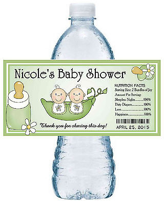 Two Peas In A Pod Party Supplies (20 TWO PEAS IN A POD TWINS BABY SHOWER FAVORS WATER BOTTLE LABELS PARTY FAVORS)