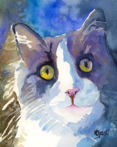 Tuxedo Cat Gifts | Art Print from Painting | Poster Picture Home Decor 11x14