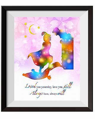Princess Jasmine Decorations (Uhomate Princess Jasmine and Aladdin and Jasmine Print Nursery Wall Decor)