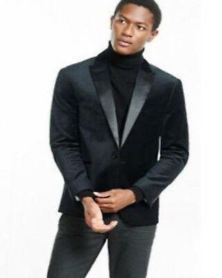Hombre Negra Chaqueta de Terciopelo Blazer Diseño Boda Novios Esmoquin Informal