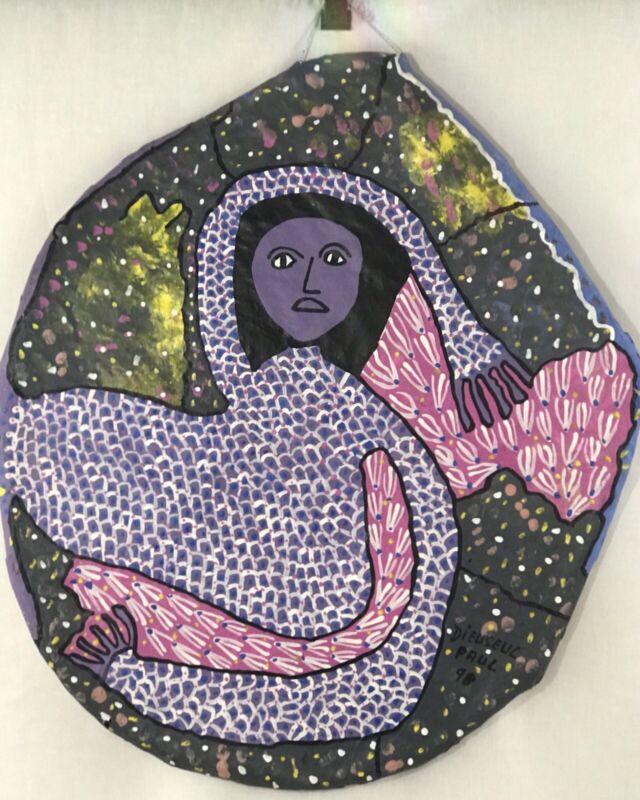 "HAITIAN ART DIEUSEUL PAUL PAINTING FREE FORM PAPER MACHÉ ACRYLIC WOMAN 23""x20"""