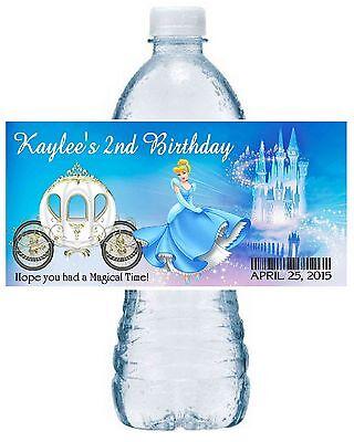 20 CINDERELLA BIRTHDAY PARTY FAVORS ~ WATER BOTTLE LABELS ~ waterproof ink (Cinderella Birthday)