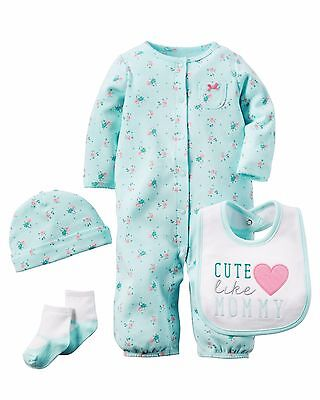 Carters Baby Girl  Coverall Hat Bib Set Size Newborn 3 6 Months Layette -