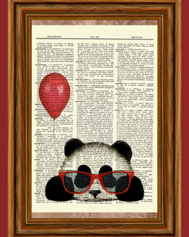 Panda Red Balloon Glasses Dictionary Curious Art Print Poster Picture Book OOAK