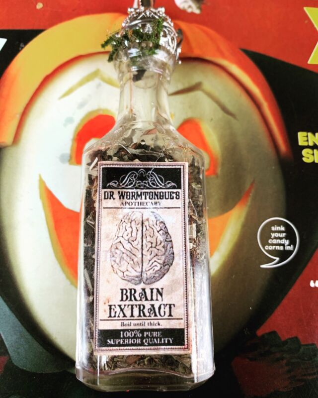 Apothecary Dr Wormtongues Dried Brain Extract  Diffuser Top WICCA OOAK Halloween
